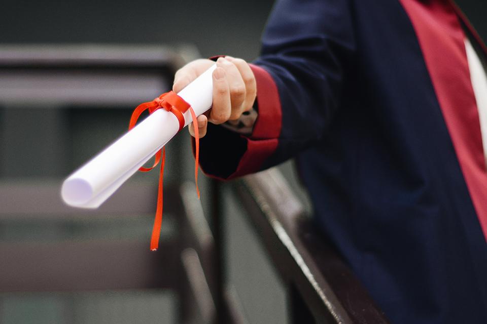 Receiving a diploma