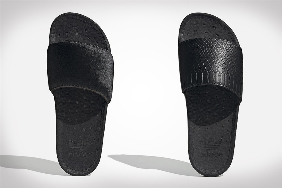 adidas Adilette Slides With Pony Hair & Snakeskin Finishes