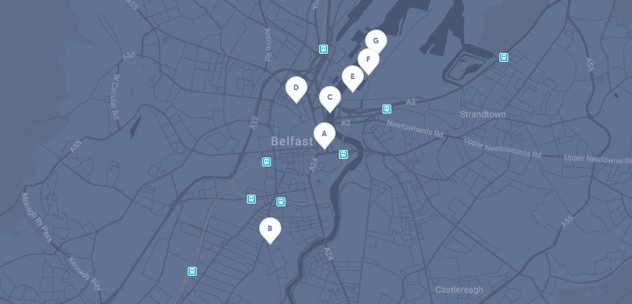Glass of Thrones Walking Tour map