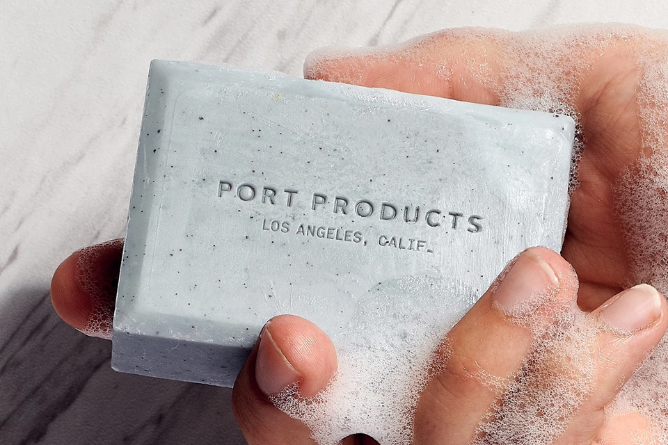 Port Products exfoliating body soap made with volcanic sand