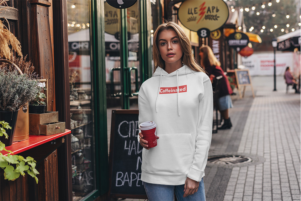 Girl wearing caffeinated hoodie from the Caffeinated Collection
