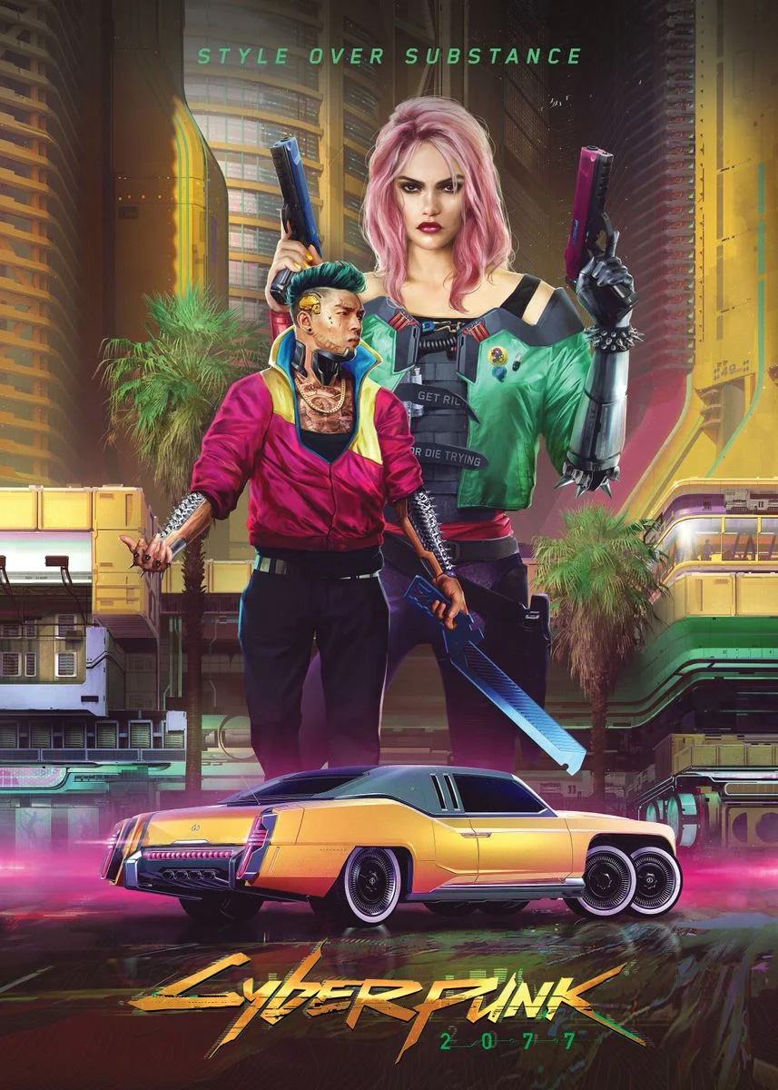 Colorful Cyberpunk 2077 Poster