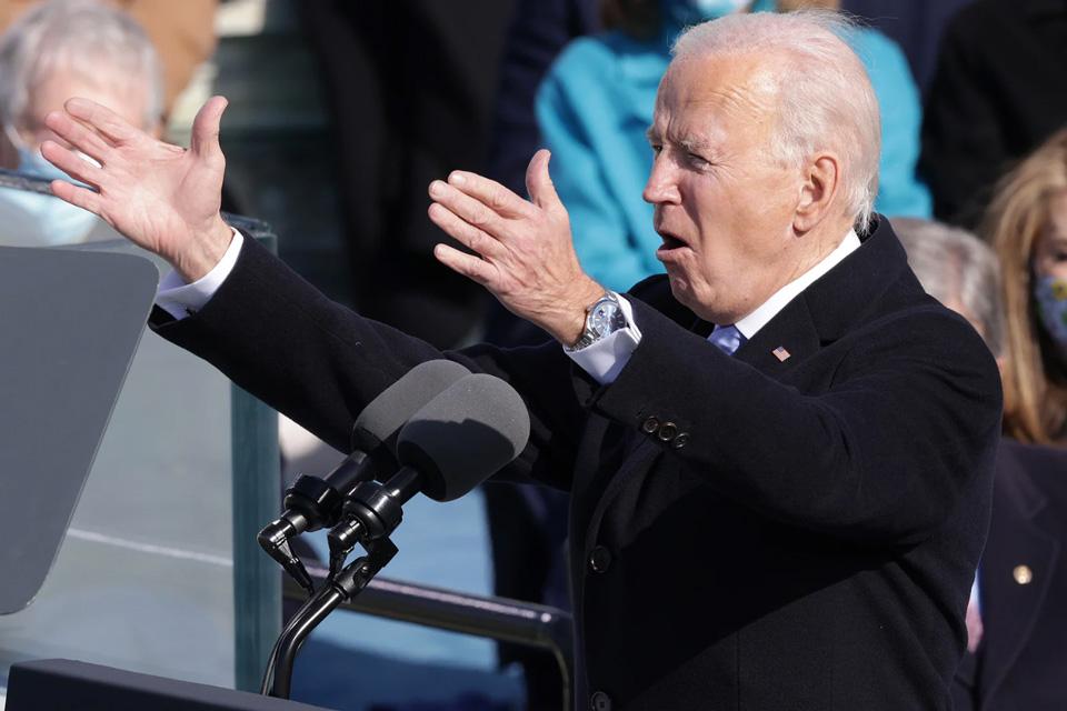 Joe Biden wearing his new Rolex Datejust at his inauguration. Joe Biden Watch Collection