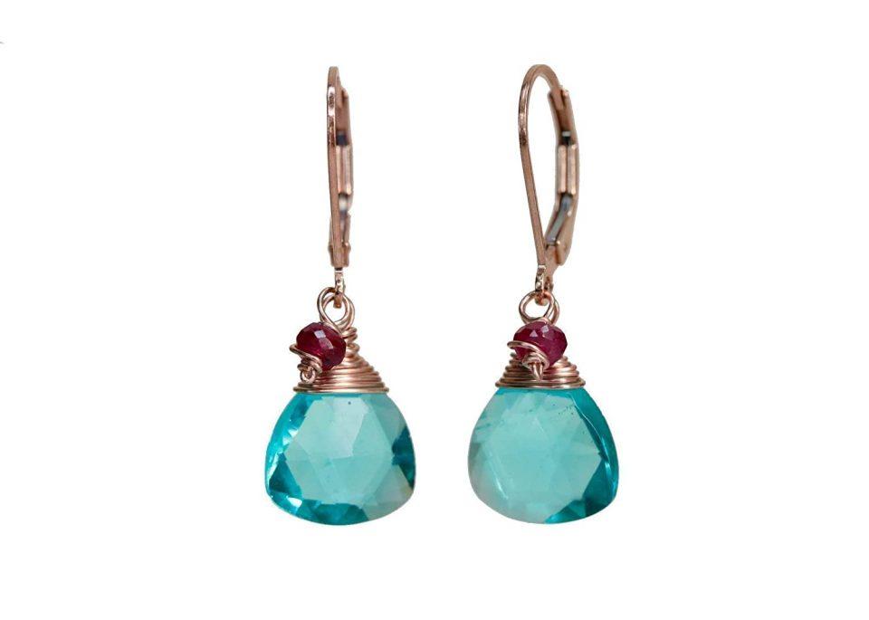 Blue, Green Ruby Gemstone Earrings