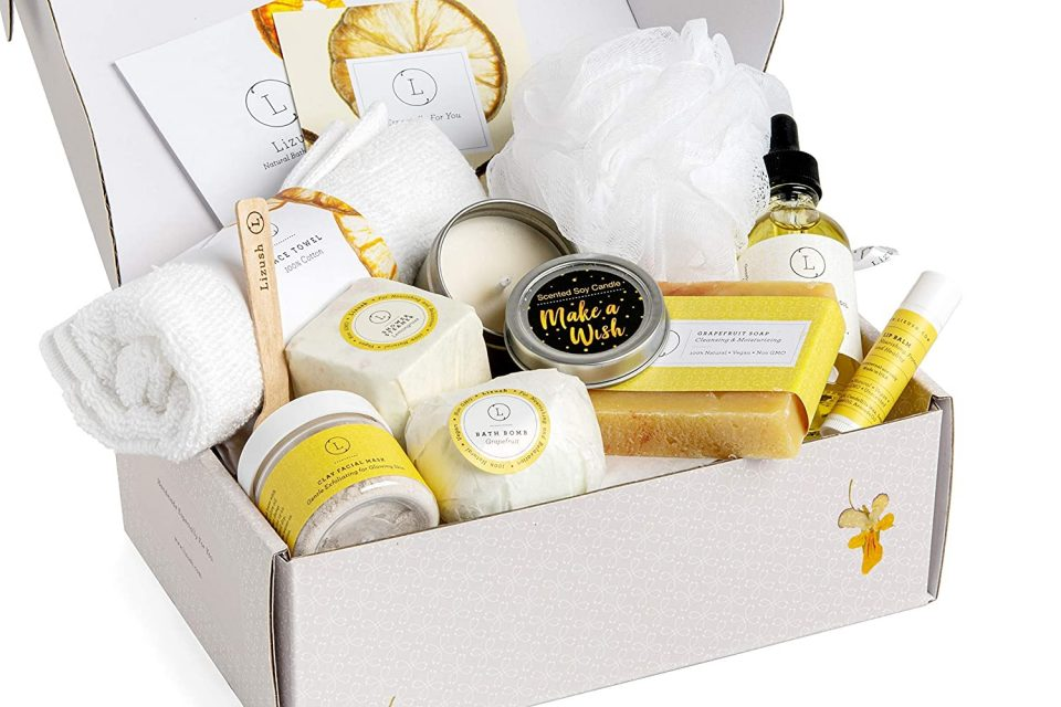 Spa Gift Set, Pampering Relaxing Box, Citrus Care Package for Women