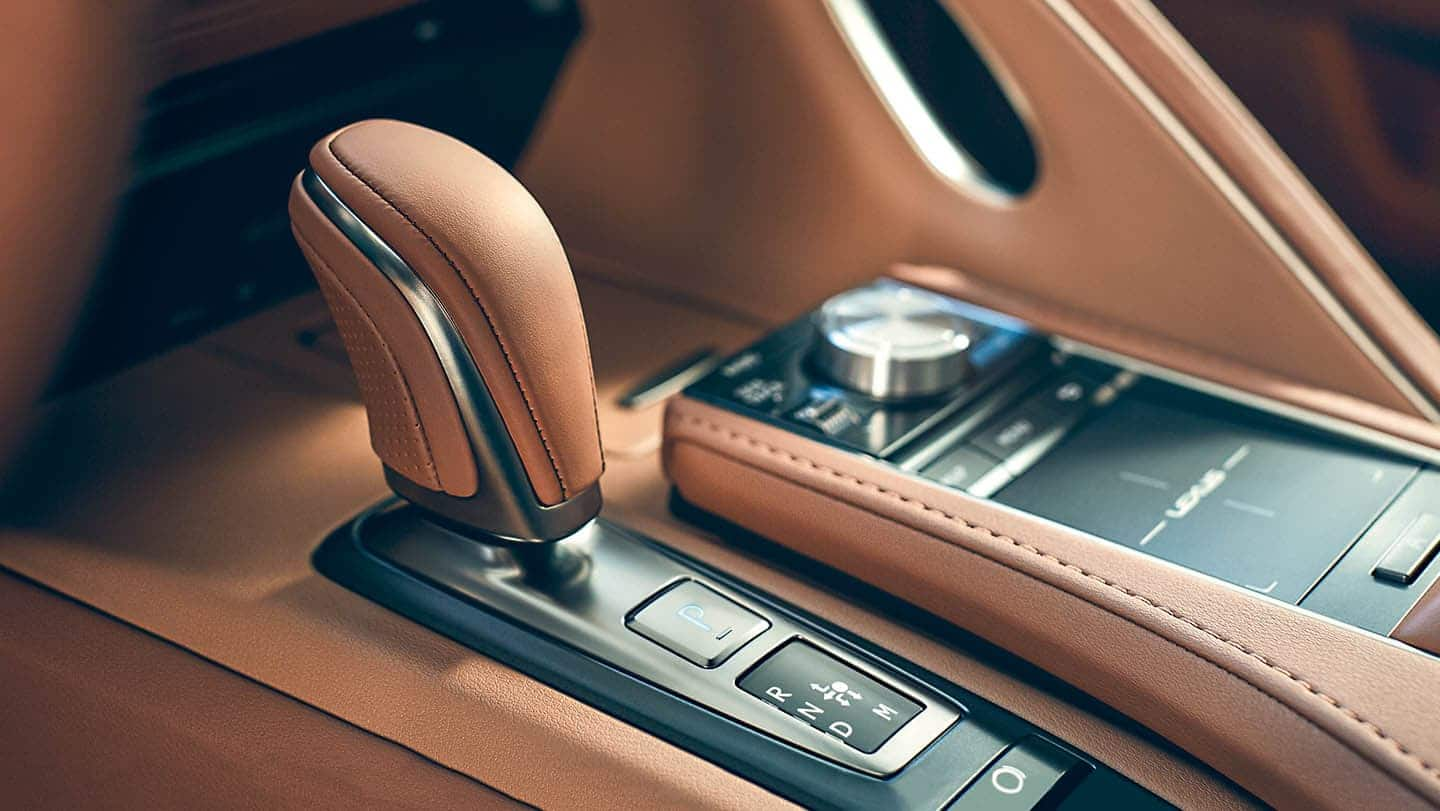 LEXUS LC500 shift knob in toasted caramel color